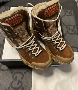 NEW AUTH Gucci Flashtrek GG Monogram Hiking Ankle Boots Brown Size G 8 US 9