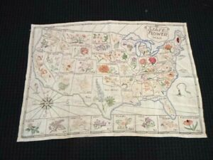"Vtg 1940's Hand Embroidered Sampler US Map With State Flowers 34"" x 23.5"""