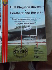 7.9.86 Hull KR v Featherstone Rovers programme