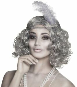 Grey Ghost Flapper Wig 1920s Halloween Silver Gatsby Fancy Dress