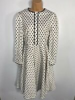 WOMENS DOLLY & DOTTY WHITE SPOTTED LONG SLEEVED 50'S VINTAGE FLARE DRESS UK 10
