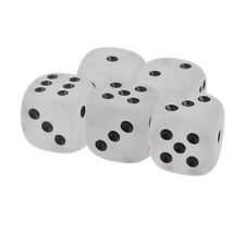 Set of 5 Frosted Clear Dice Black Pips Round Corner 16mm Organza Bag
