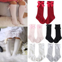 0-4 Years Toddler Baby Kid Girl Knee High Long Socks Bow Cotton Casual Stockings