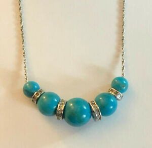 """Sterling Silver Necklace Turquoise Beads Diamond Accents 6-10mm 16"""" 6g 925 #1412"""