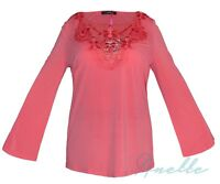 So Fabulous New Womens Lace Neck Blouse Long Line Bell Sleeve Stretch Top BNWT
