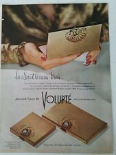 1946 Volupte gold jeweled compact cigarette case vintage cosmetic smoking ad