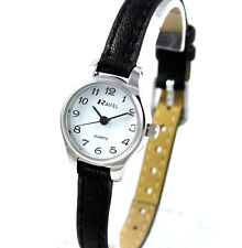 Ravel Ladies or Girls Dainty Casual Watch Long Black Slim Faux Leather Strap SIL