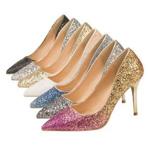 Women's high heels pointed toe gradient sequined stilettos sexy high heels 9cm