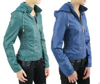 New Ladies Girls Classic Women's Leather Biker Jacket Detachable Hooded Jackets