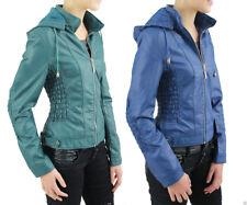 New Ladies Girls Classic Women's Leather Biker Jacket Detachable Hooded Jackets