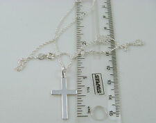 Sterling Silver Cross and 18 Inch Silver Prince of Wales Rope Chain