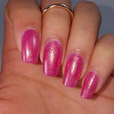 BRIGHT PINK w/ Iridescent Shimmer Shiny Nail Polish 5 Free Handmade Cruelty Free
