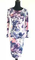 Blue Vanilla Women's Purple Pink Marbled Stretch Bodycon Maxi Dress Size Small