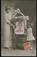 Mothercare Lady Child Girl New Year Calendar original old 1910s photo postcard