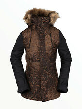 VOLCOM Womens 2021 Snowboard Snow FAWN INSULATED JACKET Black Combo Leopard