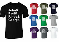 Mens The Beatles Names John Paul Ringo George Slogan T-shirt NEW S-XXL