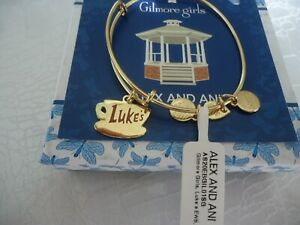 Alex and Ani GILMORE GIRLS LUKE'S Shiny Gold Charm Bangle New W/Tag Card & Box