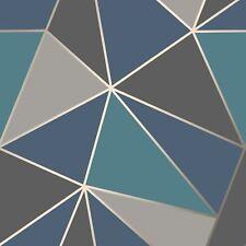APEX GEOMETRIC WALLPAPER AQUA NAVY BLUE - FINE DECOR FD42001 SILVER