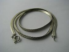 A CONTINENTAL STERLING SILVER CHAIN NECKLACE HERRINGBONE CHAIN Italy 1980s 18in.
