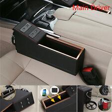 Car Auto Seat Gap Main Driver Storage Console Box Organizer PU Leather Universal