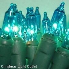 35 Mini Teal Indoor Straight-Line Xmas Craft Glass Block Lights 10ft Green Wire