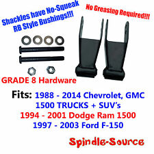 1988 - 2014 DROP Shackles SET Chevy Silverado GMC Sierra 1500 RB Bushing GRADE 8