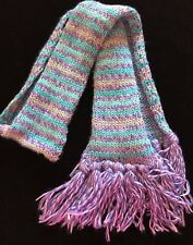 girls knit WINTER SCARF purple blue sparkle silver by TOBY ages 7 to 15 FRINGE @
