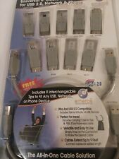 Universal 6' Foot USB 2.0 Cable Kit 9 Interchangeable Tips Mobile Network /Phone