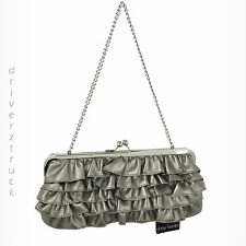 DAISY FUENTES Tiered RUFFLE Front PEWTER Grey CLUTCH Handbag SILVER CHAIN STRAP