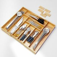 Kitchen Drawer Organizer -Expendable Bamboo Tray with Adjustable Dividers