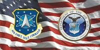 Space Command & Air Force On U.S. Flag Photo License Plate