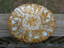 """Antique Meissen Porcelain Rococo Heavy Gold Gilded 8 3/4"""" Plate  ** #2 of 4 **"""