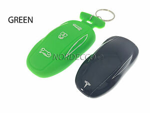 New Silicone Smart Key Fob Protector Case Cover With Keyring Tesla Model S GREEN