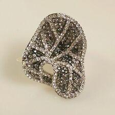 Rhodium Plated Austrian Crystals Stunning Ring Size 7 US N AU