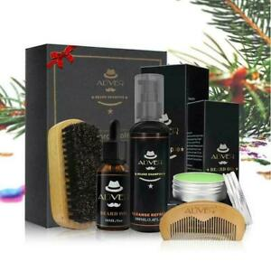 Men Beard Care Shampoo Oil Balm Comb Brush Grooming Shaving Great Gift Kit
