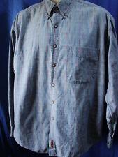 Territory Ahead Men's Denim Shirt Button-Up L/S Blue & Textured Colored Thread L