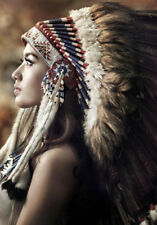 INDIAN GIRL IN HEAD DRESS * LARGE A3 SiZE QUALITY CANVAS ART PRINT