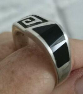 Gents Vintage Modernist Sterling Silver Onyx Signet Ring sz  Z