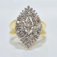 14K Solid Yellow Gold Diamond Ring. Sizable