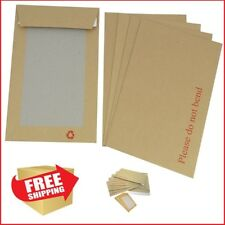 100 ENVELOPES A5 C5 HARD CARD BOARD BACKED BROWN PLEASE DO NOT BEND  229 x 162MM