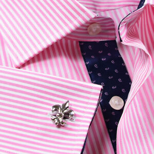 Pink & White Stripes Elegant Double Ply Wevon Business Shirts With Inner Lining