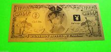 PLAYBOY Atlantic City 1981 Original CASINO Fun Night $1000 Bill MINT Hugh Hefner