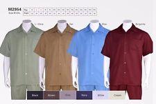 Men's summer 2-pc walking suit short sleeve /shirt & pants Solid 10 colors 2954