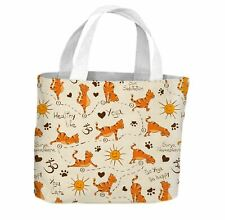 Yoga Cat Orange Pattern All Over Tote Shopping Bag For Life