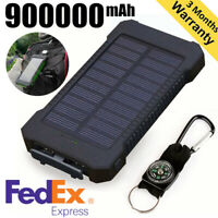 Huge Capacity Solar Power Bank 900000mAh 2USB LED External Battery Charger NEW