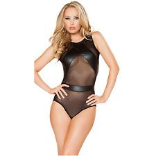 Faux Leather Sexy Teddies Lingerie Wet look Bodysuit Babydoll Chemise Dress 6-12