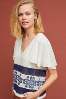 NWT Anthropologie Matison Stone White Blue Calais Embroidered Blouse Shirt Top L
