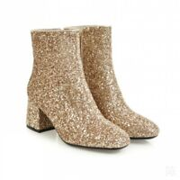 Women Biker Motorcycle Ankle Boots Sequins Glitter Square Toe Mid Heel Shoes New