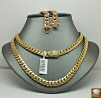 "10k Gold Chain Men Women Solid Miami Cuban Necklace 7.5mm 19"" Box Lock"