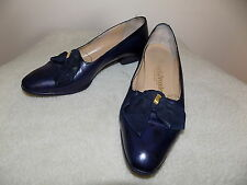 Vintage navy blue leather Russell & Bromley Bond Street London made in Italy 3.5